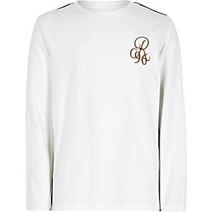 T-shirt «R96» blanc à manches longues avec bandes pour garçon