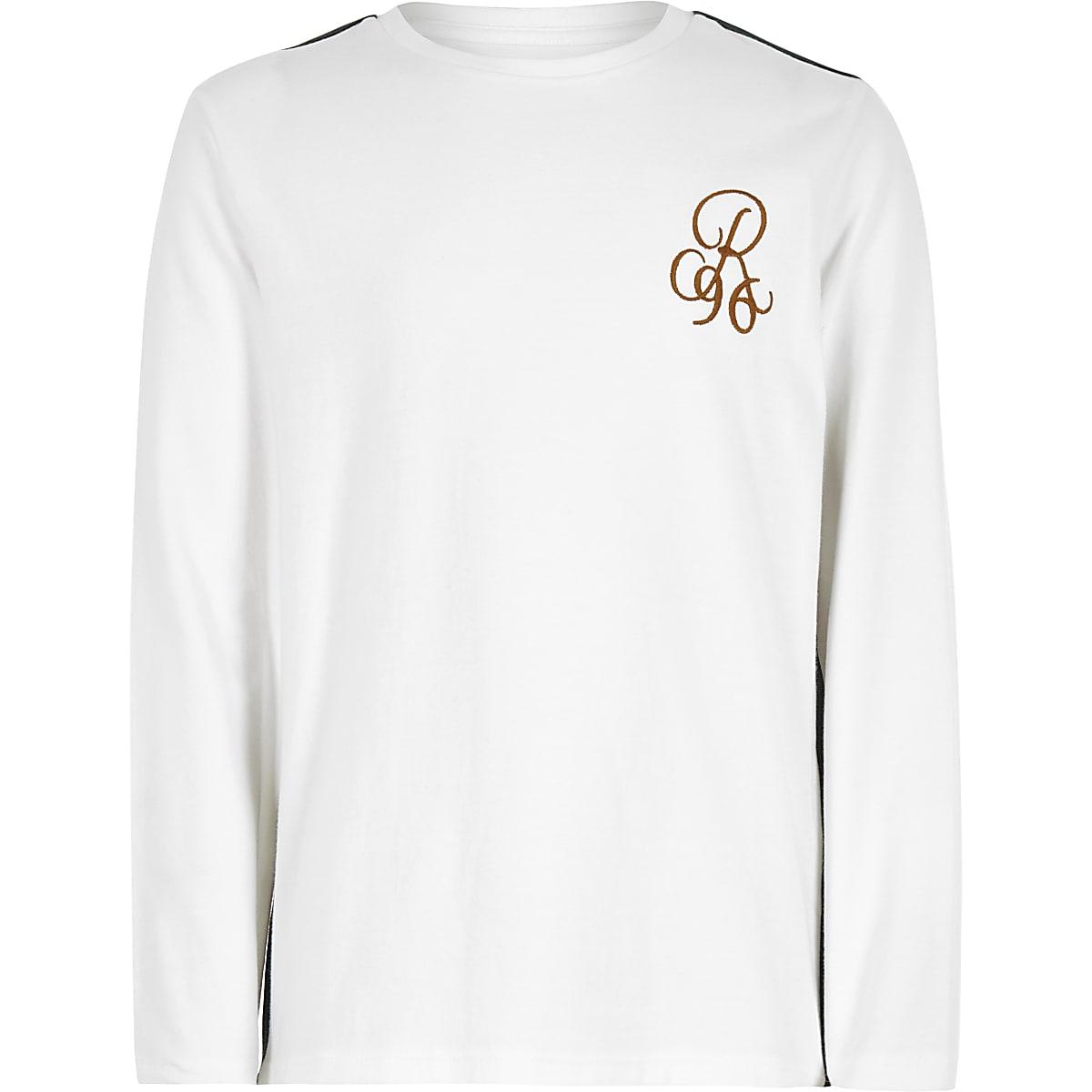 Boys white 'R96' tape long sleeve T-shirt