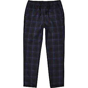 Boys RI Studio navy check trousers