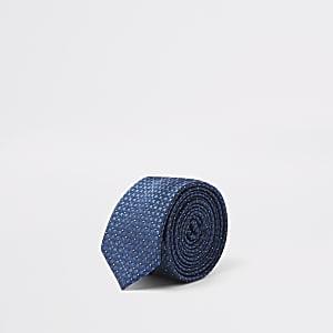 Marineblauwe vierkante jacquard stropdas