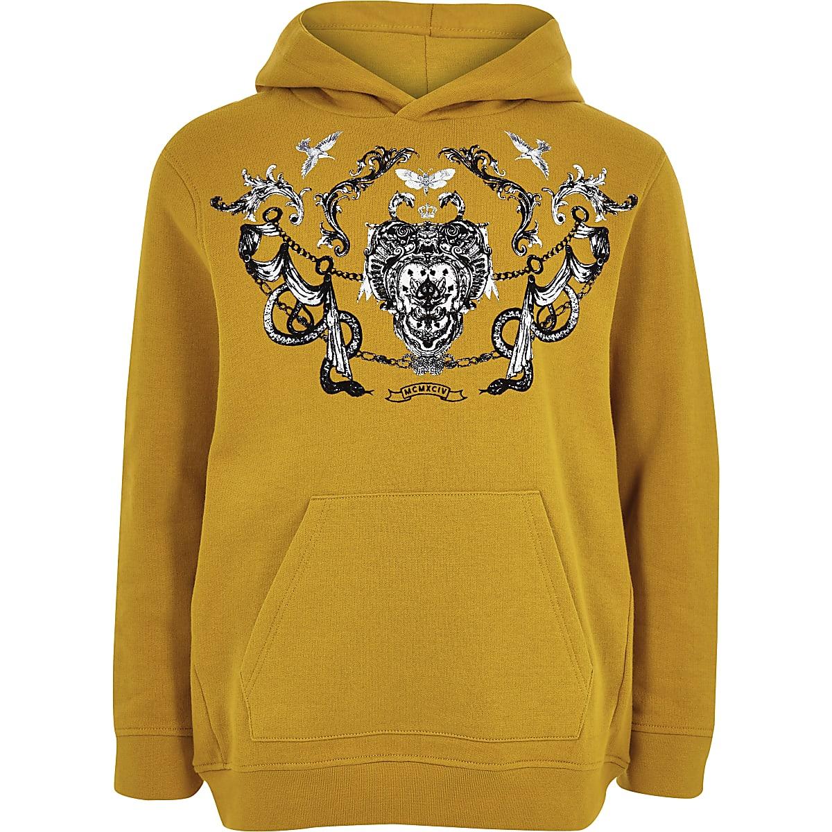 71be3750c Boys yellow flock print hoodie Boys yellow flock print hoodie ...