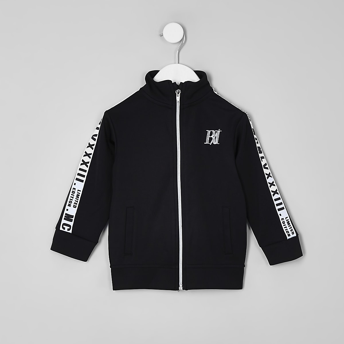 Mini boys black tape track jacket