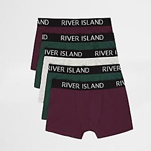Multipack bordeauxrode en groene boxershorts met RI-print voor jongens