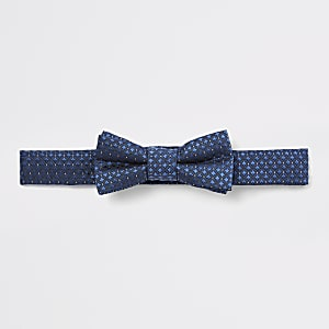 Nœud papillon en jacquard bleu marine mini garçon