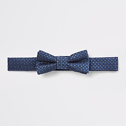 Mini boys navy jacquard bow tie