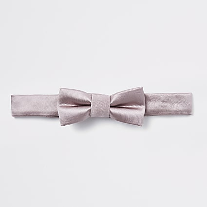 Mini boys light brown satin bow tie