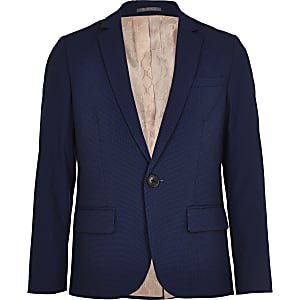 Boys blue suit blazer jacket