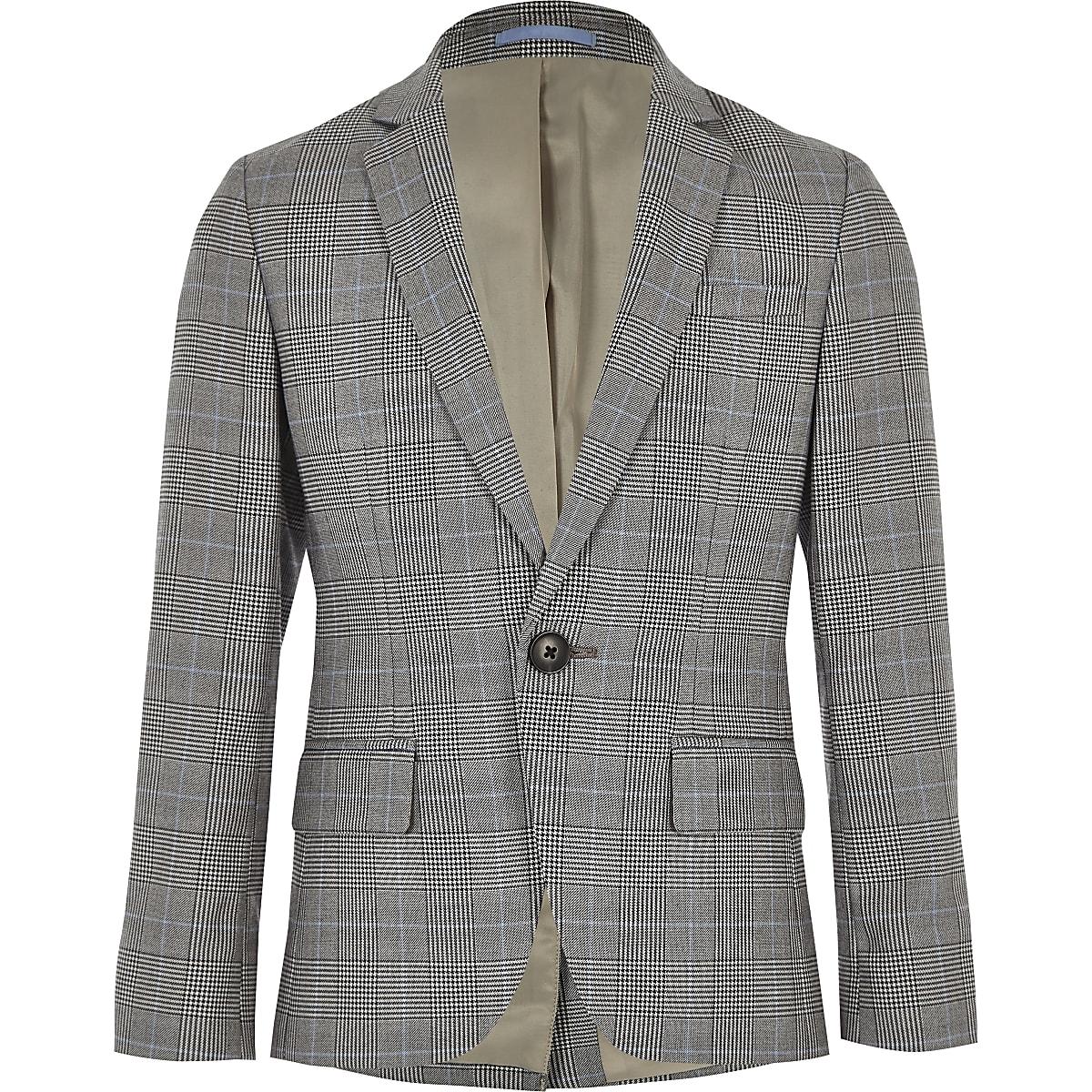 Boys grey check blazer