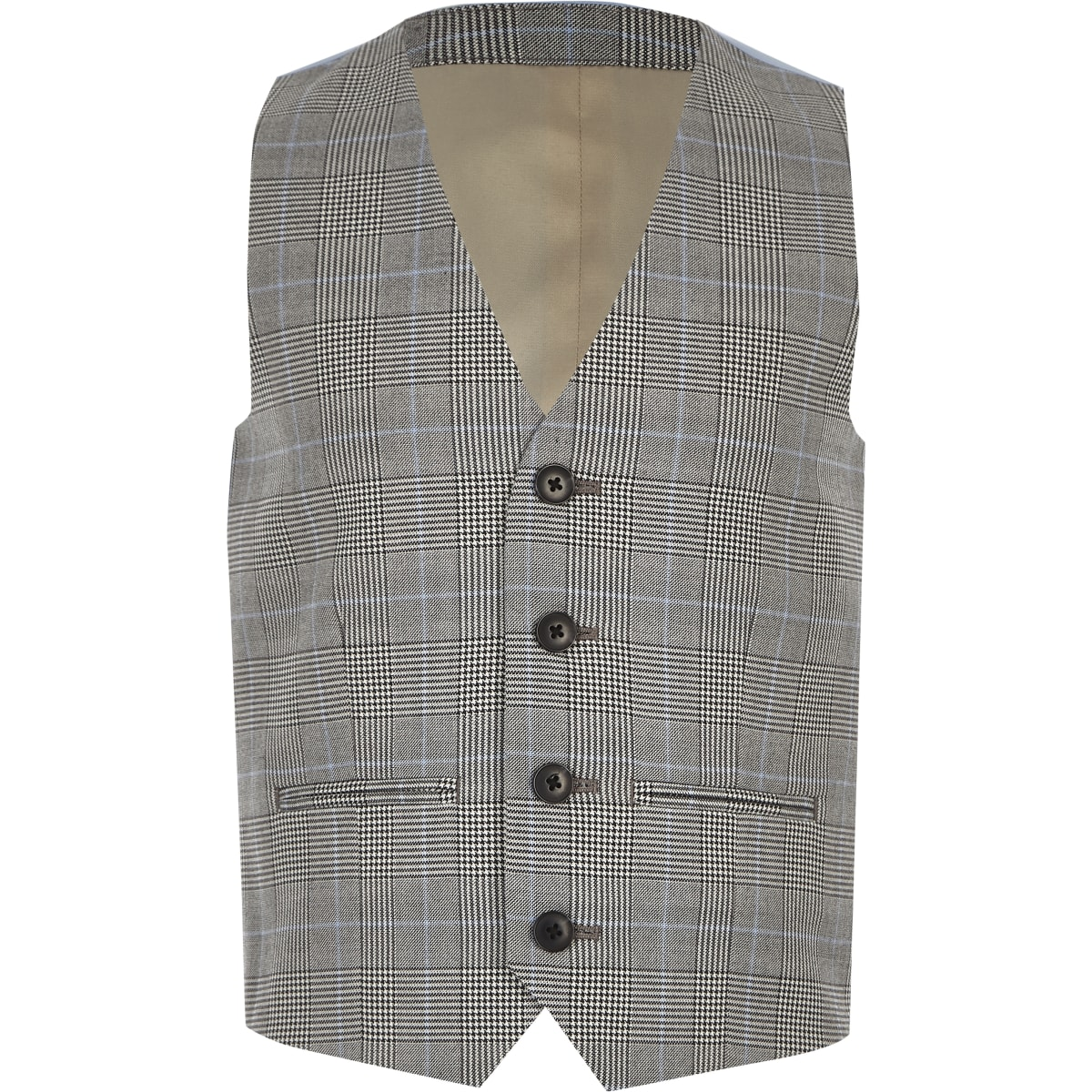 Boys grey check vest