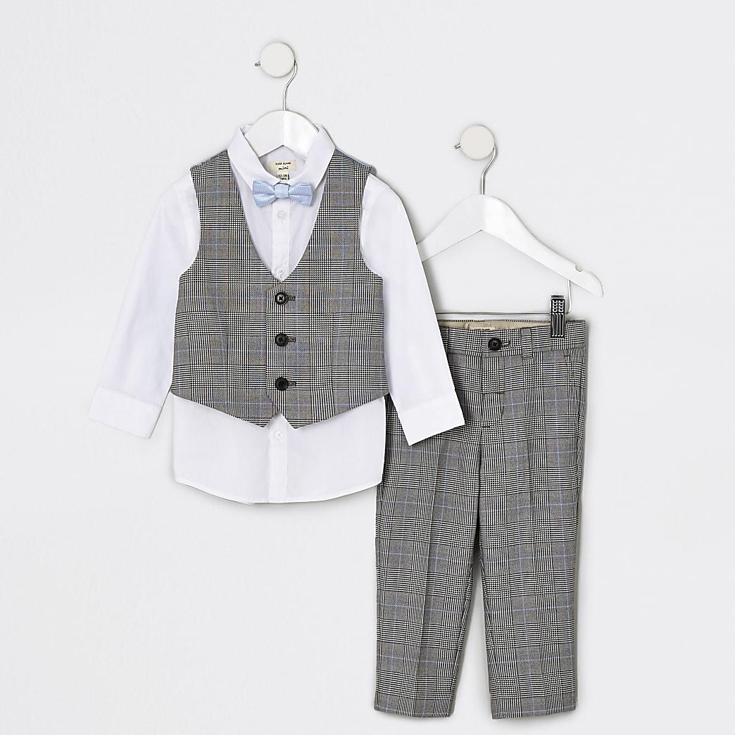 Grijs geruite kostuumset voor mini-jongens