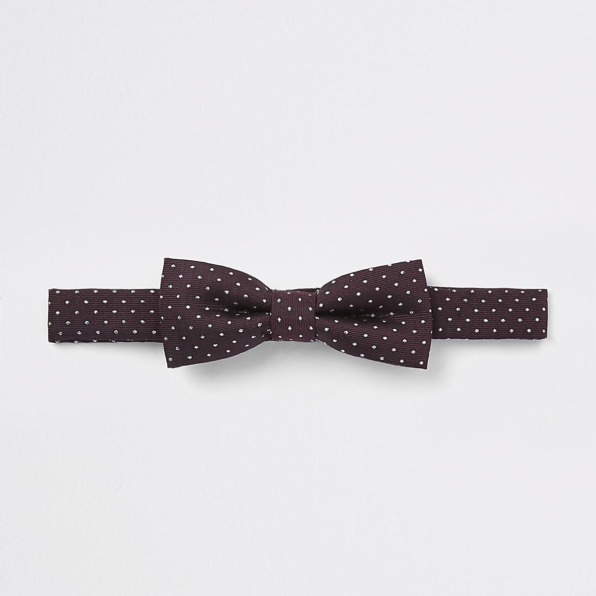 Boys burgundy jacquard spot bow tie