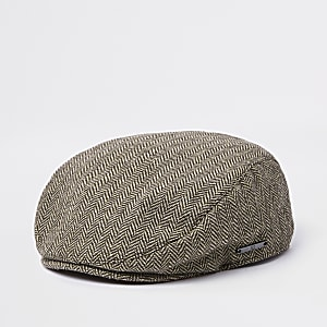 Mini boys brown printed flat cap