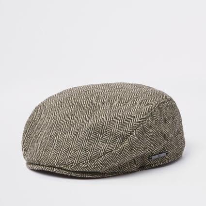 Mini boys brown printed flat cap