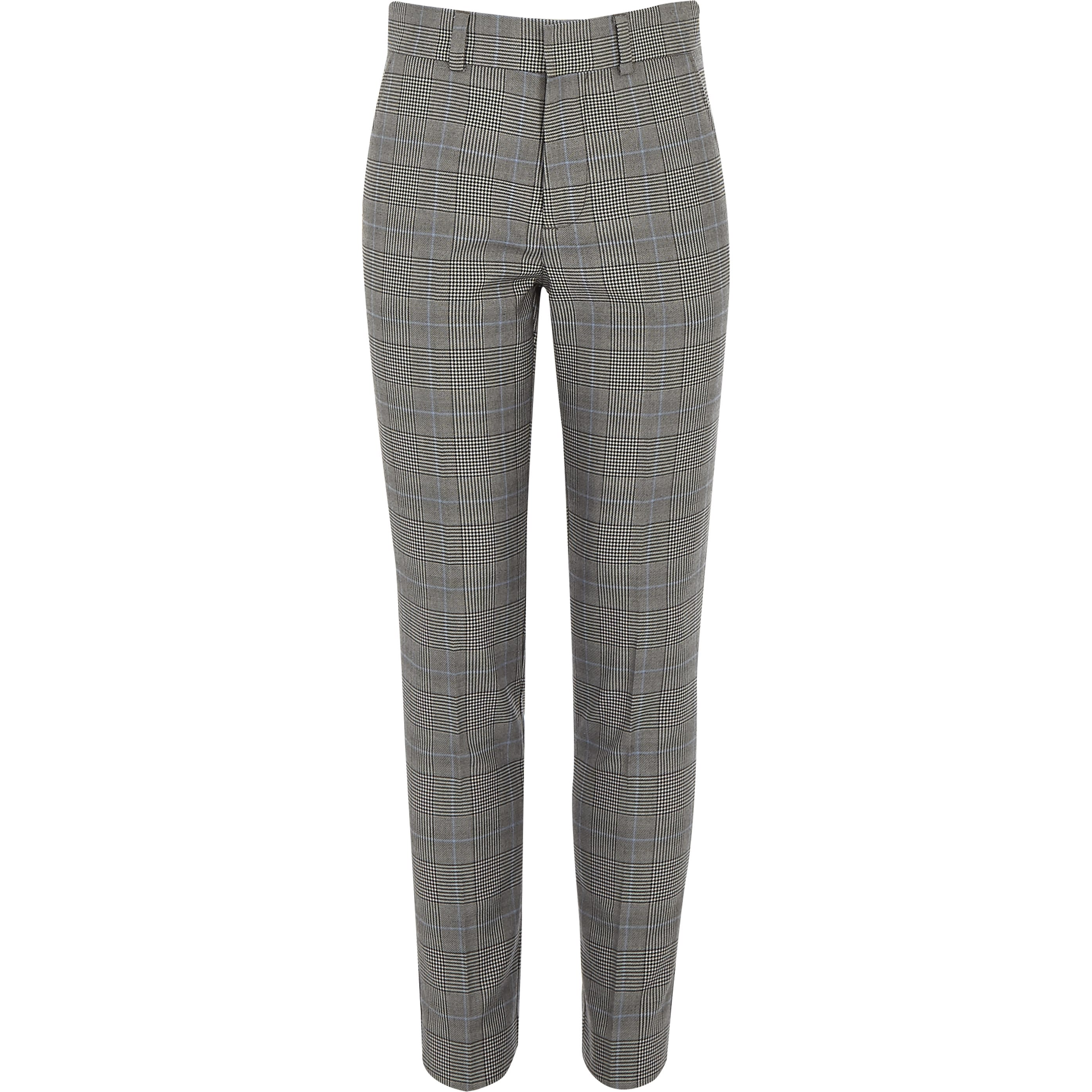 RIVER ISLAND | Mens Boys Grey check suit trousers | Goxip