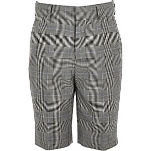 Boys grey mixed check suit shorts