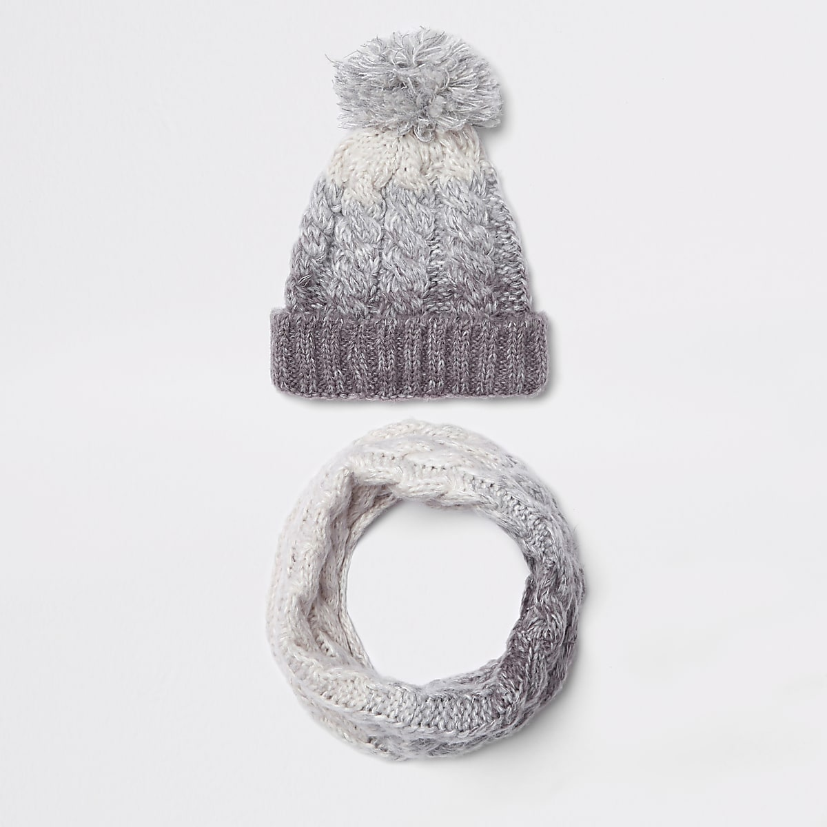 332f3cb12c59e Kids grey ombre knit hat and snood set - Hats - Accessories - boys