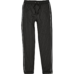 boys grey pinstripe piped pants