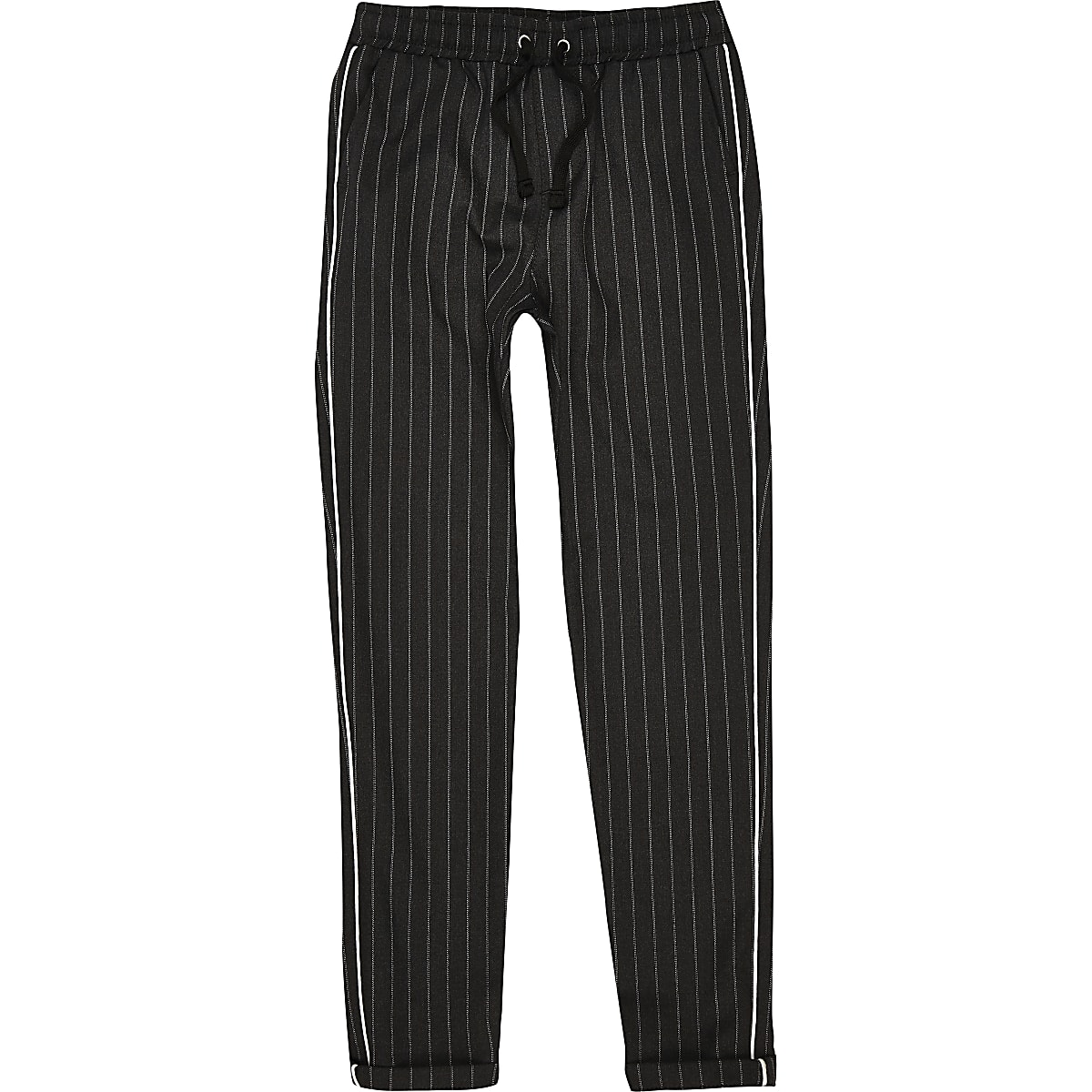 boys grey pinstripe piped trousers