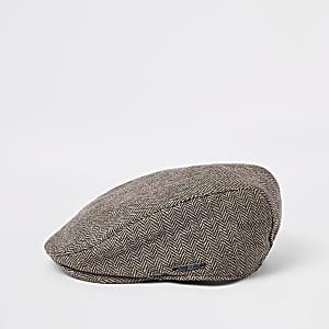 Boys brown printed flat cap
