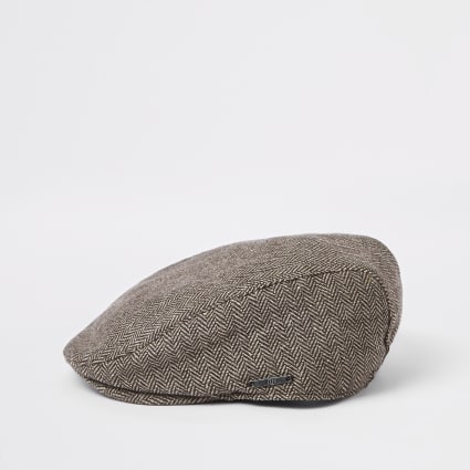 Boys brown printed flat cap