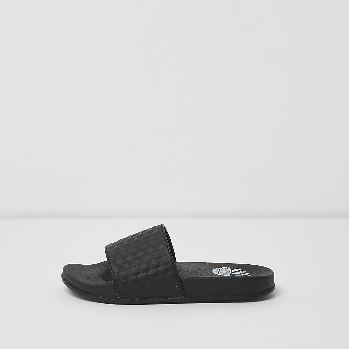 Boys black textured sliders