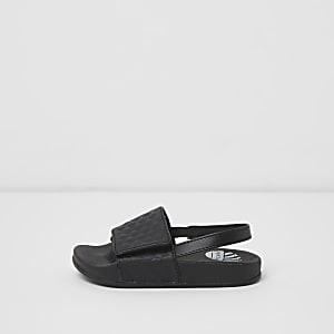 Mini - Zwarte badslippers met texuur voor jongens