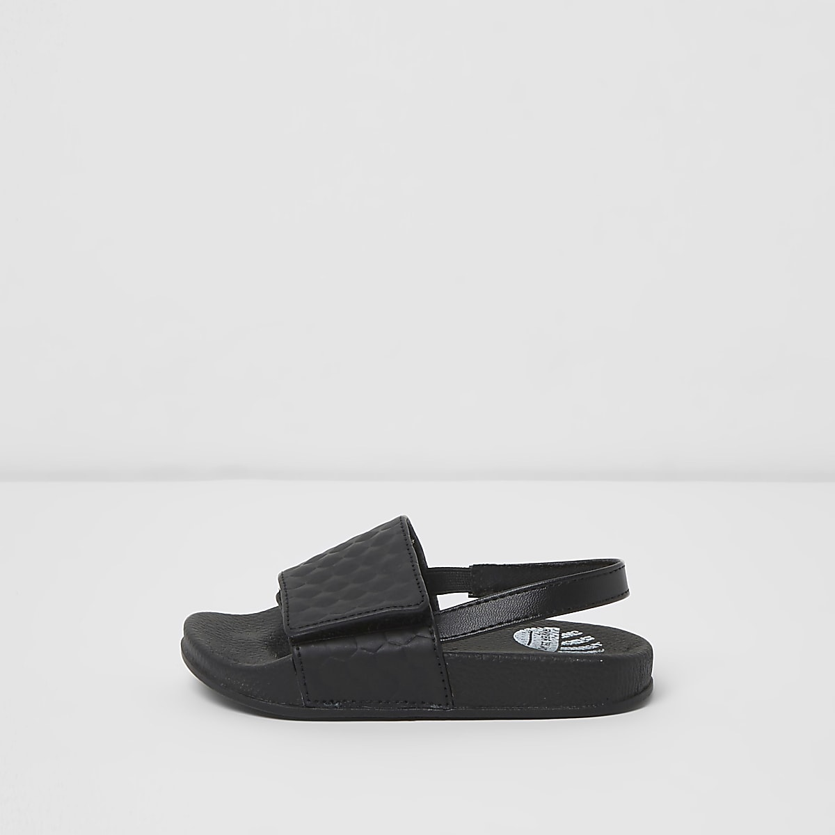 Mini boys black textured sliders
