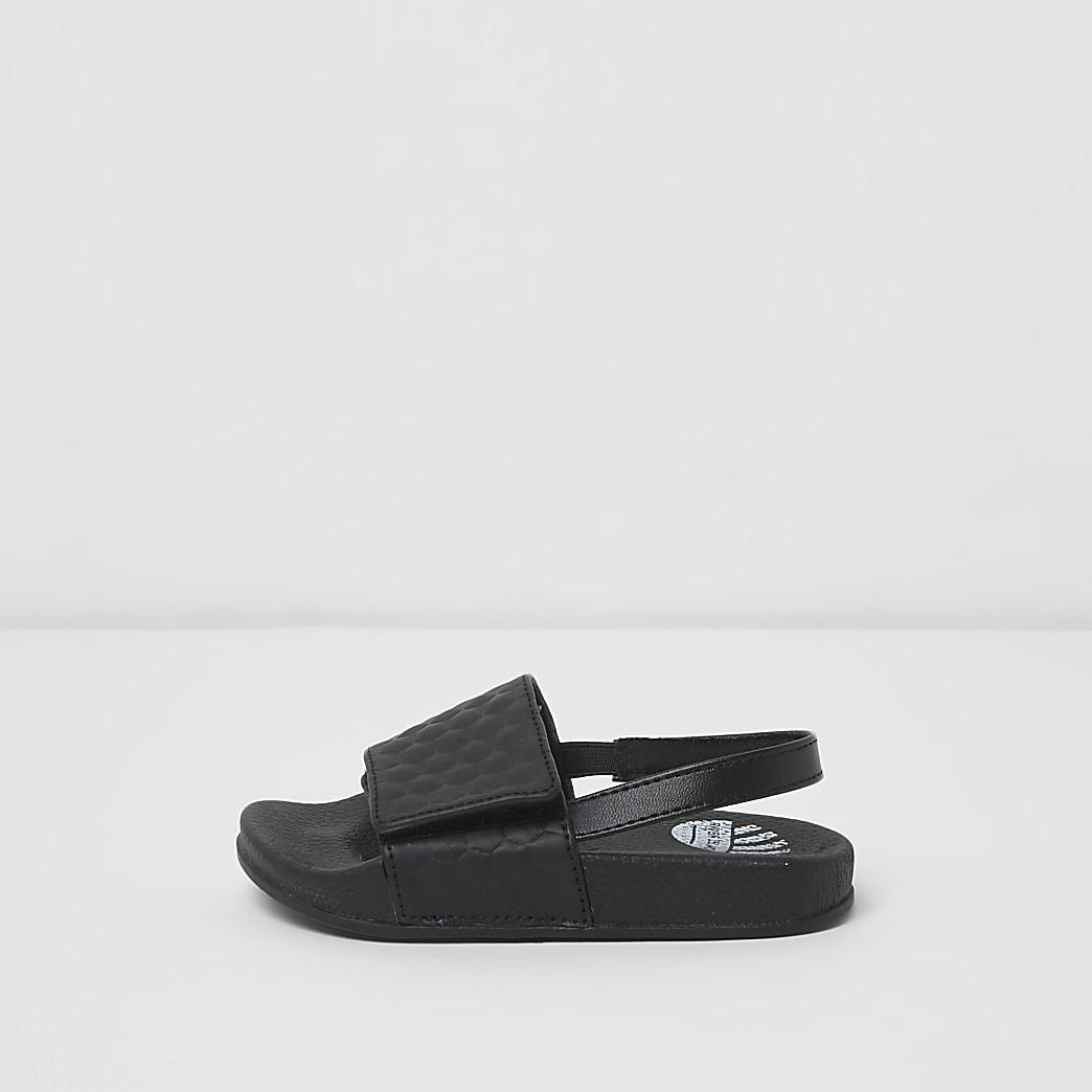 Mini boys black textured sliders