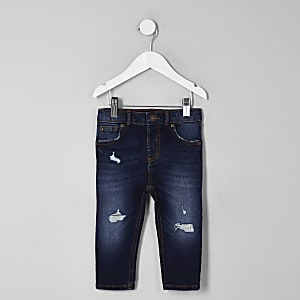 Mini boys dark blue Sid ripped skinny jeans
