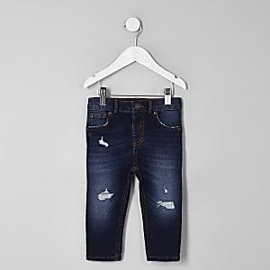 Sid – Dunkelblaue Skinny Jeans im Used Look