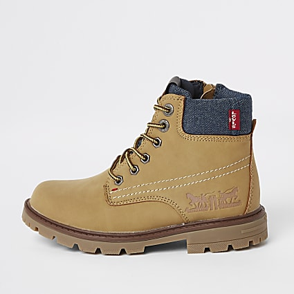 Boys Levi's brown lace-up work boots