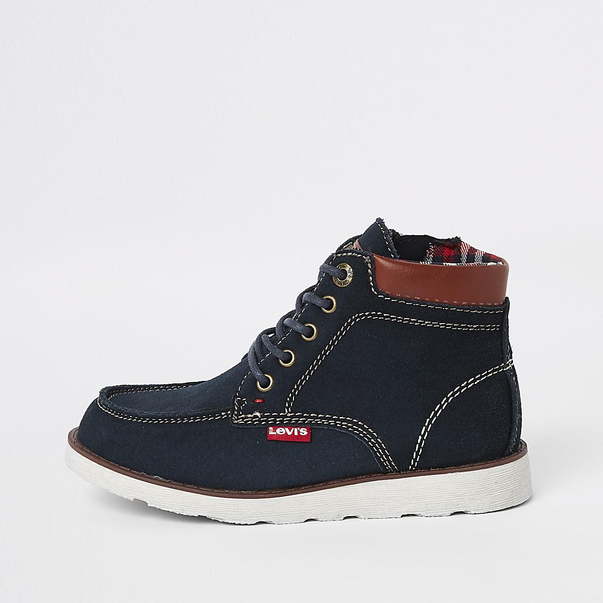 Levi's – Indiana – Marineblaue Stiefel zum Schnüren