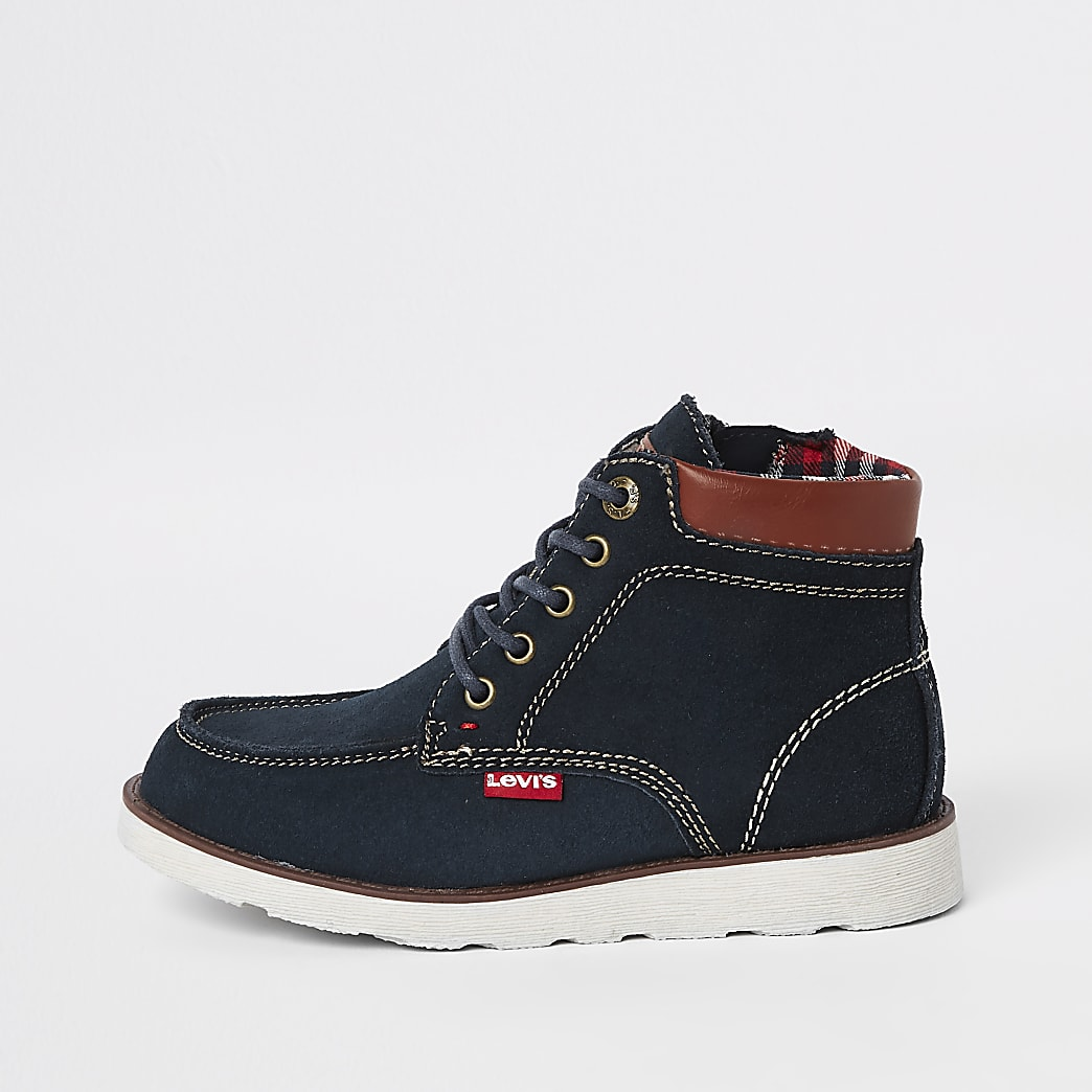 Boys Levi's navy Indiana lace-up boots
