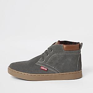 Levi's – Dunkelgraue High-Top-Stiefel zum Schnüren