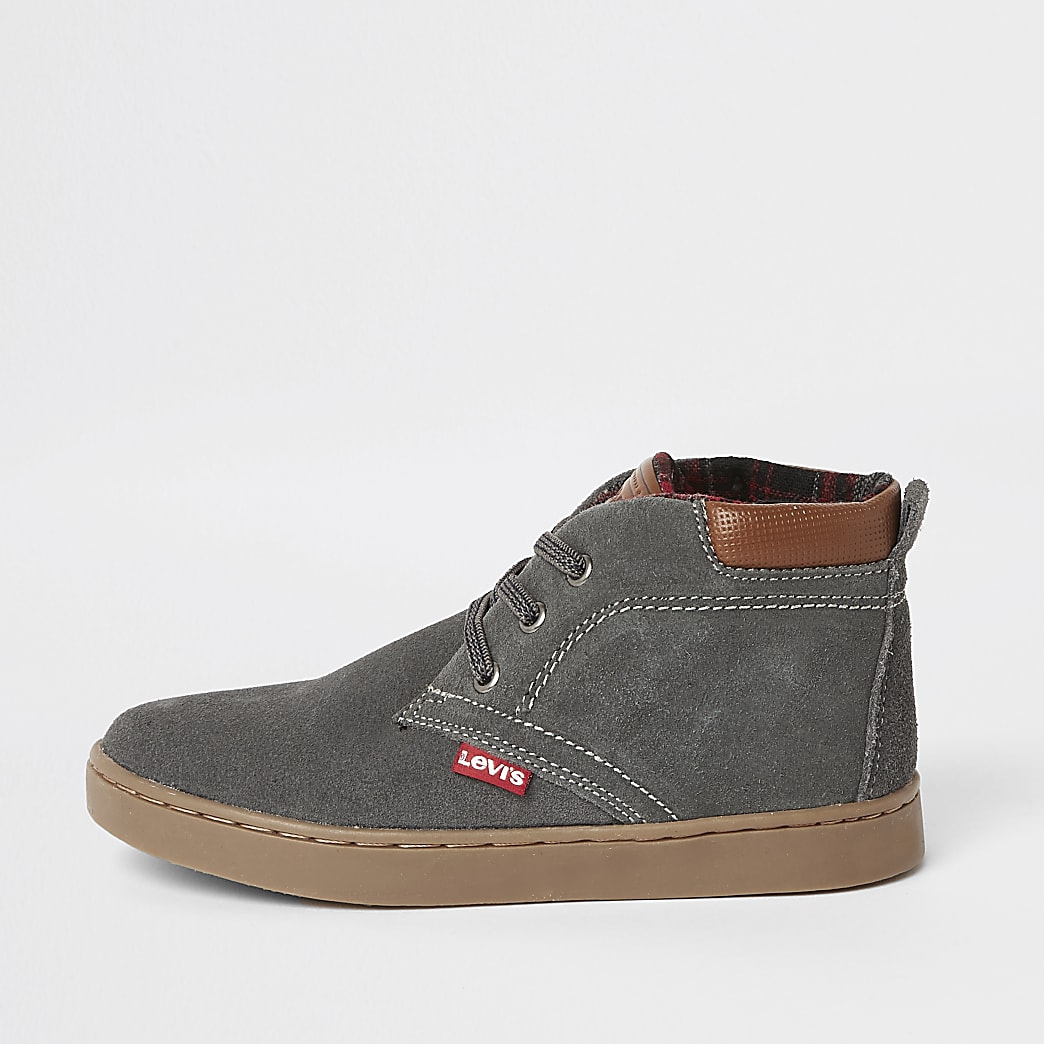 Boys Levi's dark grey lace-up hi top boots