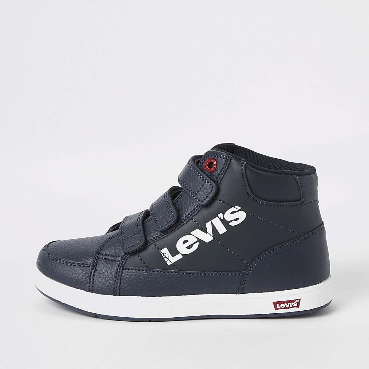 14997478f34 ... Levi's - Marineblauwe hoge sneakers met klittenband voor jongens ...