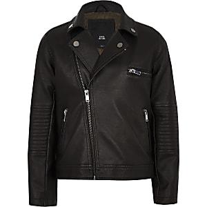 Boys faux leather biker jacket
