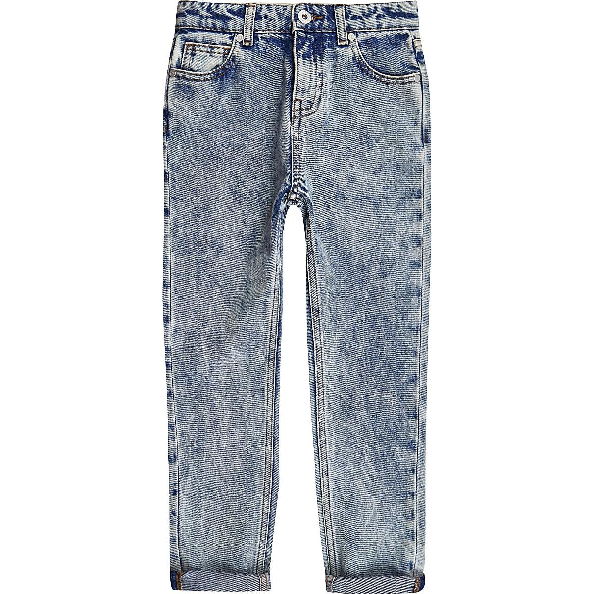 Boys RI Studio blue acid wash jeans