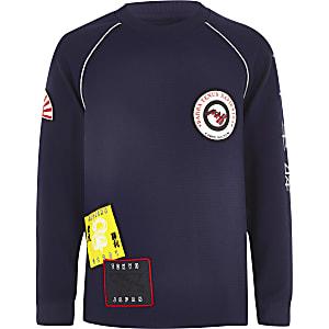 Boys RI Studio navy badge sweatshirt