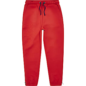 Boys RI Studio red scuba embroidered joggers