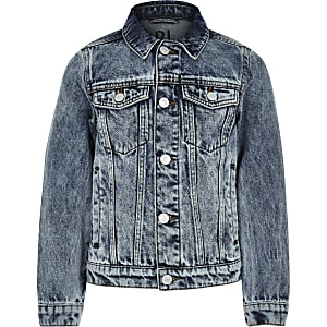 Boys RI Studio blue acid wash denim jacket