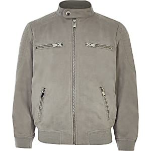 Boys grey faux suede racer jacket