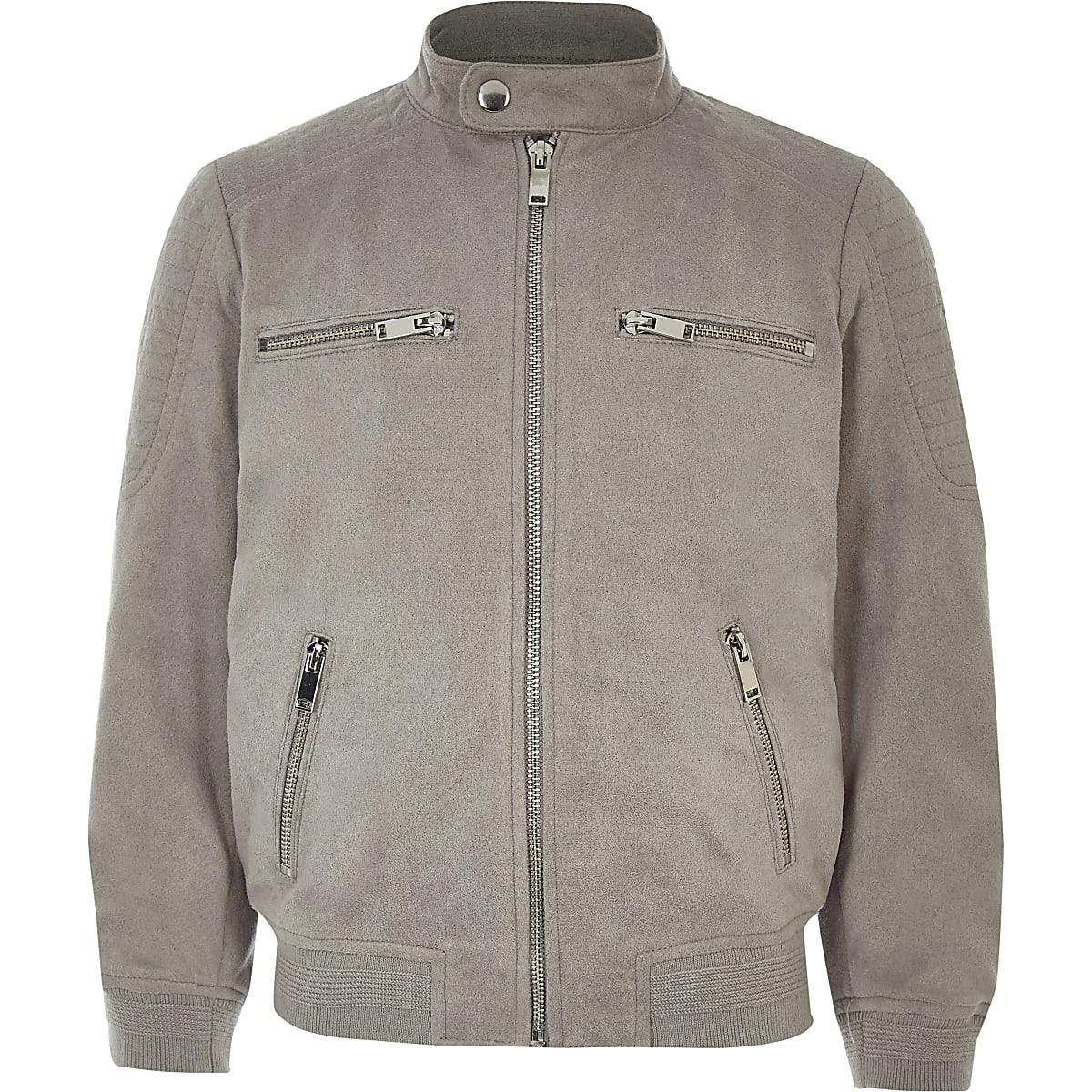 Boys grey faux suede racer jacket