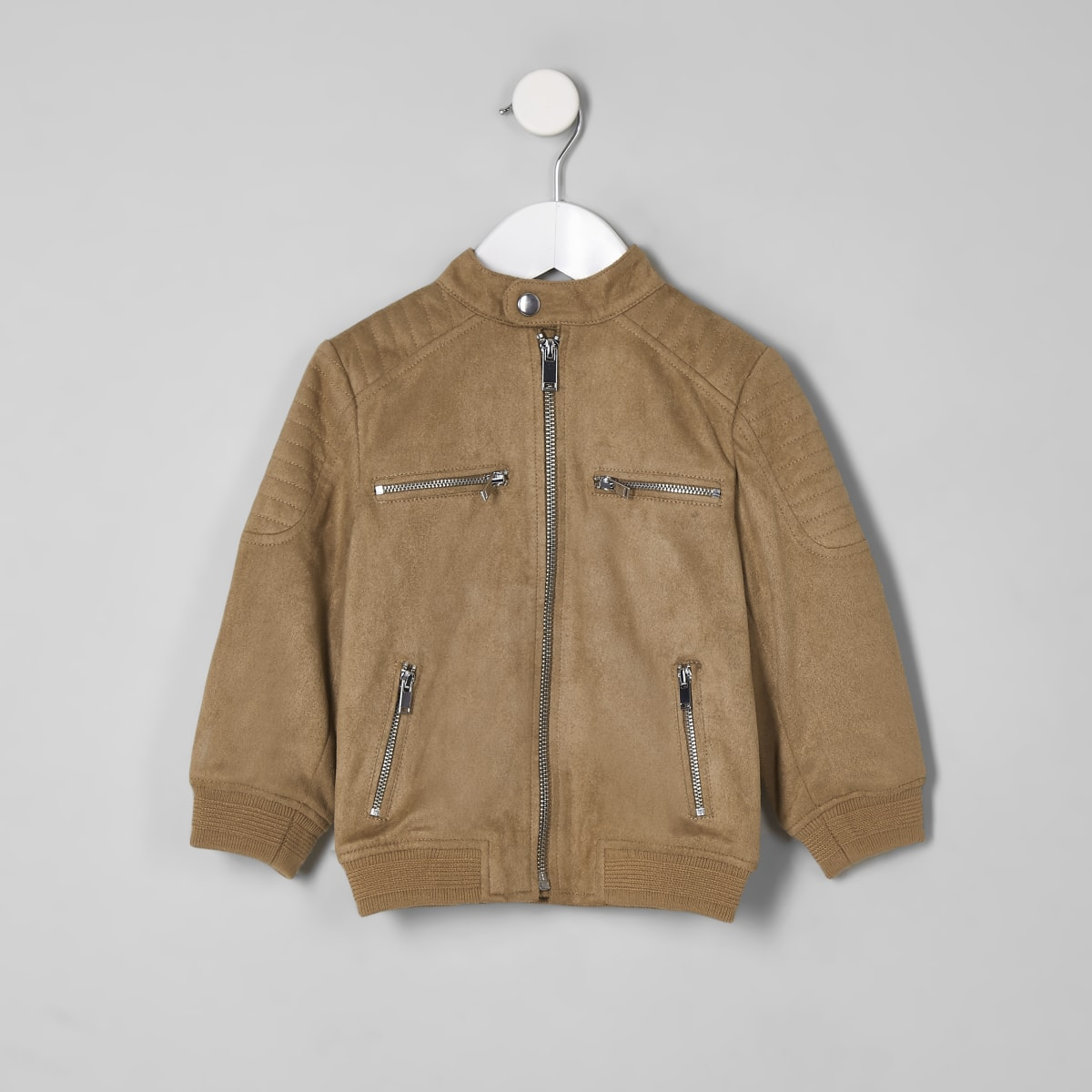 Braune Jacke aus Wildlederimitat