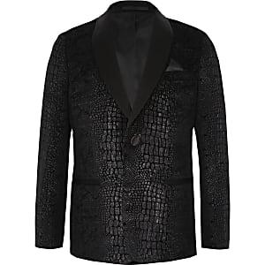 Boys black snake print blazer