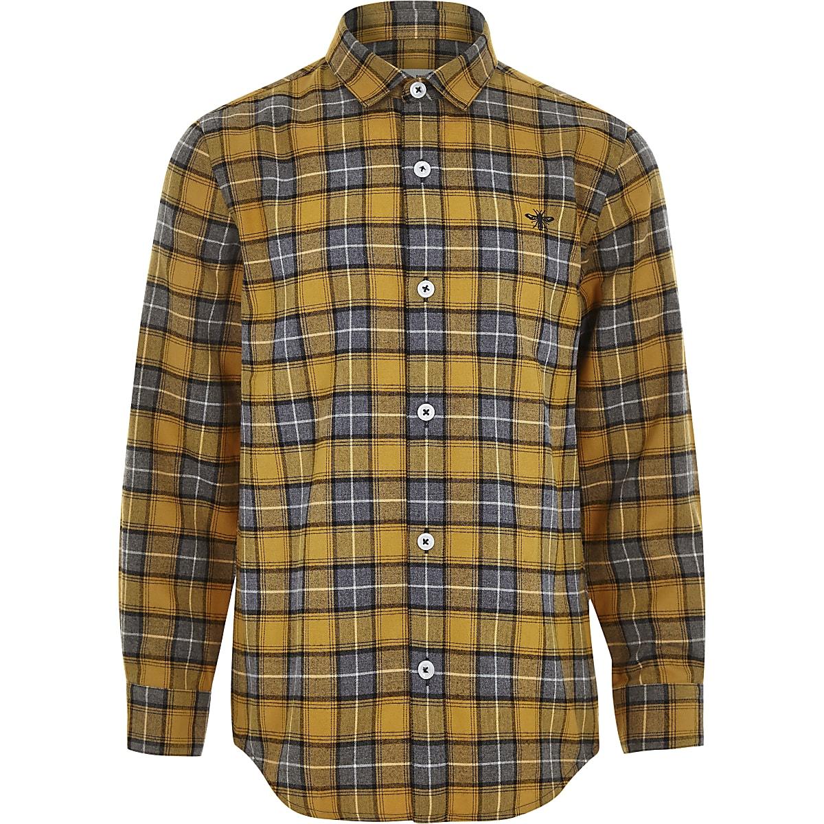 Boys yellow check button-up shirt