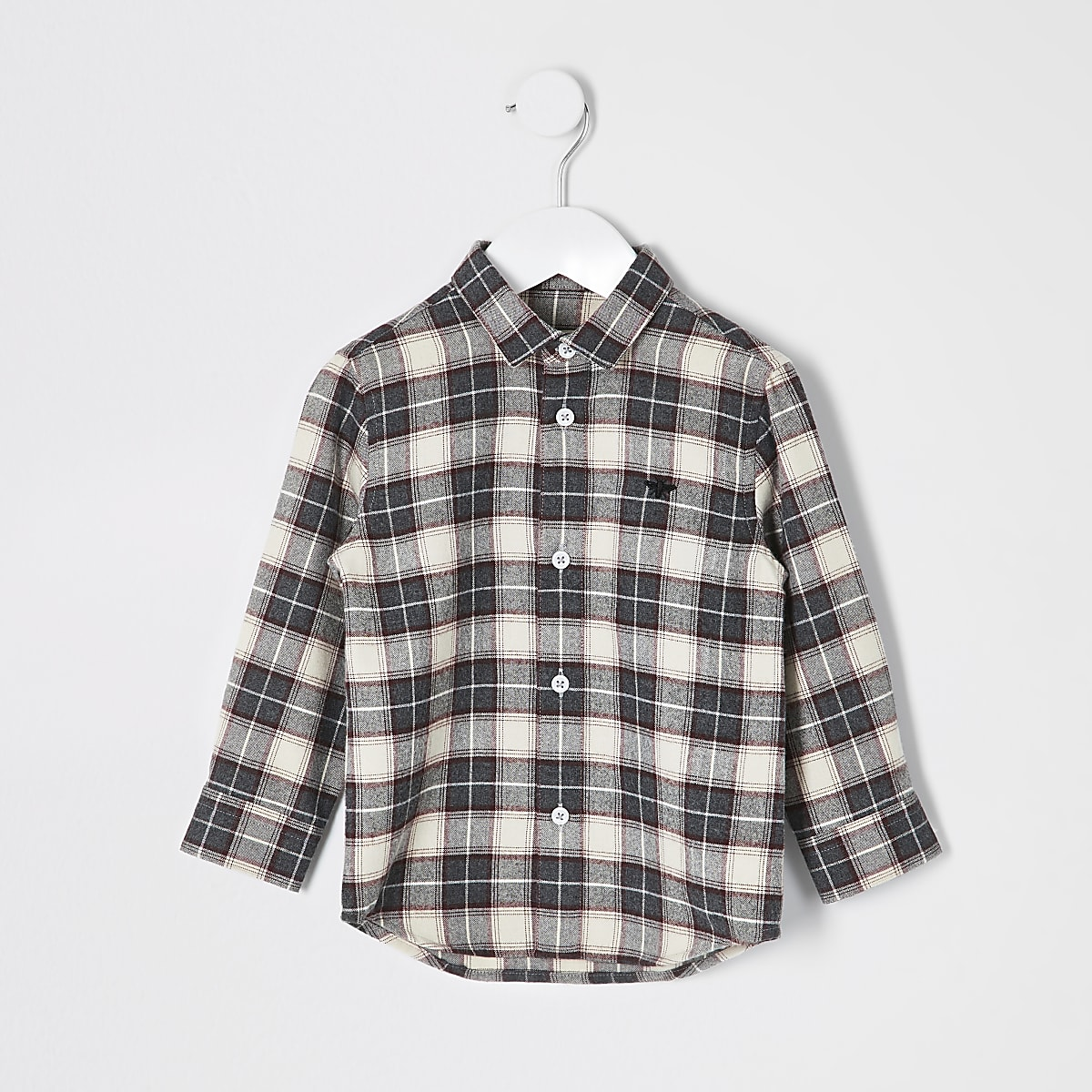 Mini boys check long sleeve shirt