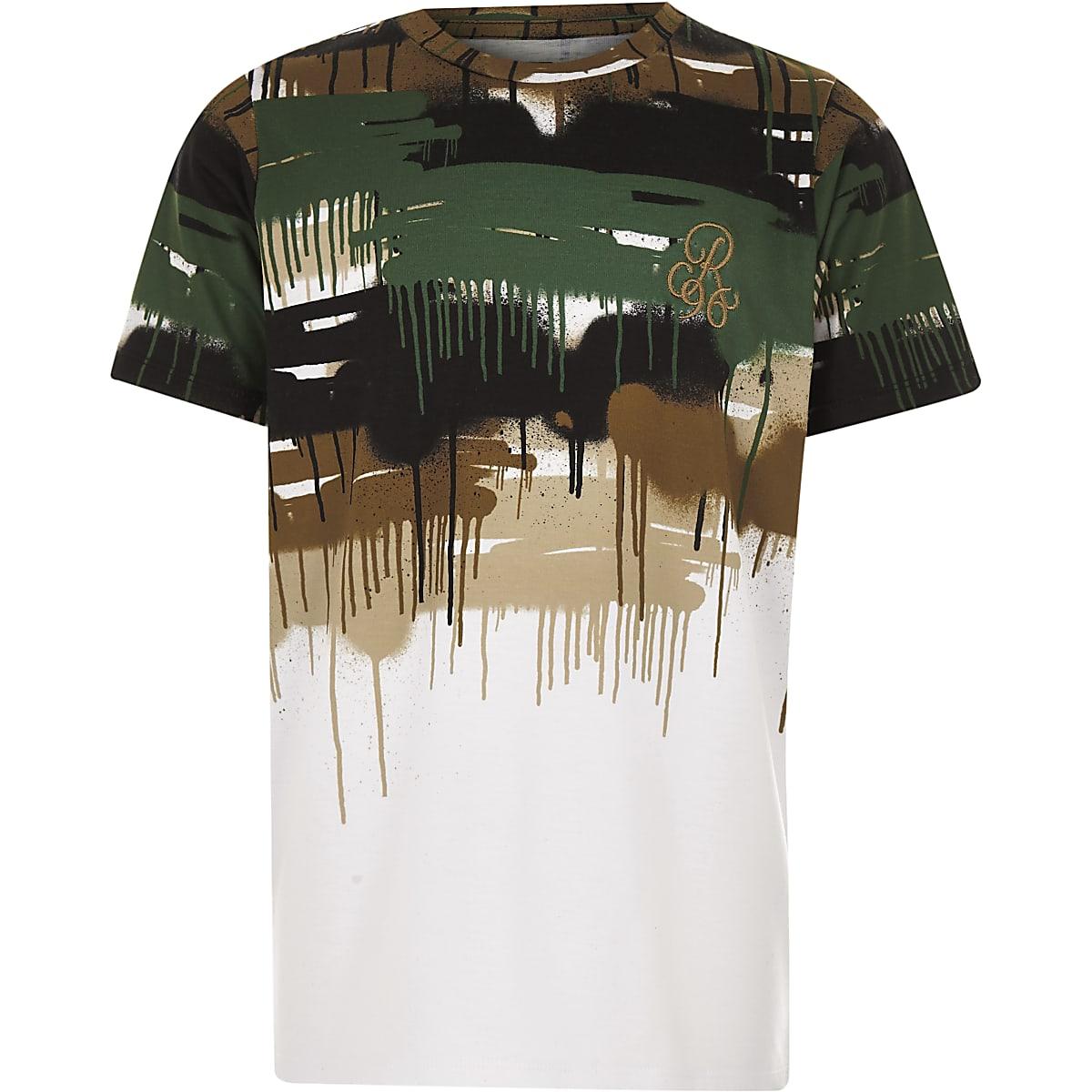 8fa93a5a Boys white 'R96' camo drip faded T-shirt - T-shirts - T-Shirts & Vests -  boys