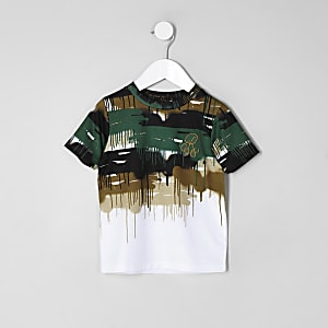 Mini - Wit T-shirt met 'R96'- en camouflageprint en kleurverloop voor jongens