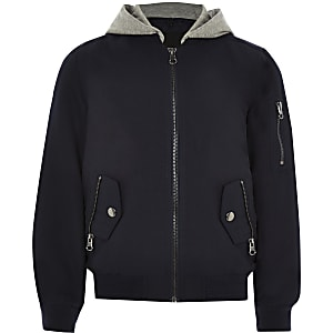 Boys navy hooded bomber jacket